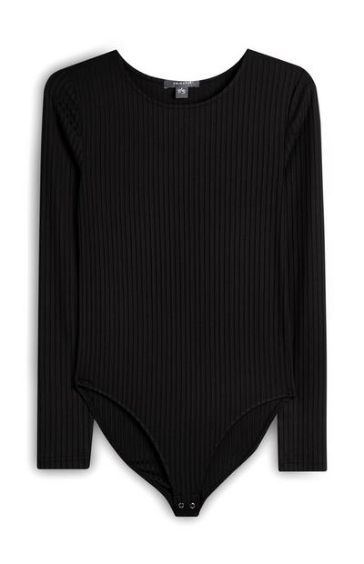 Zwart geribd bodysuit met lange mouwen