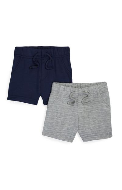 Baby Boy Grey And Navy Shorts 2Pk