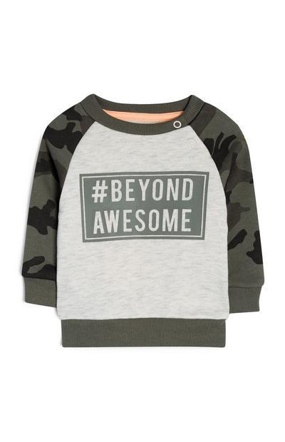 Baby Boy Gray Camo Sleeve Slogan Sweatshirt