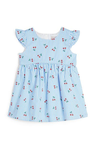 Baby Girl Blue Cherry Print Poplin Dress