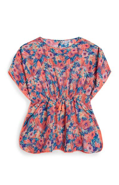 Older Girl Coral Butterfly Tunic