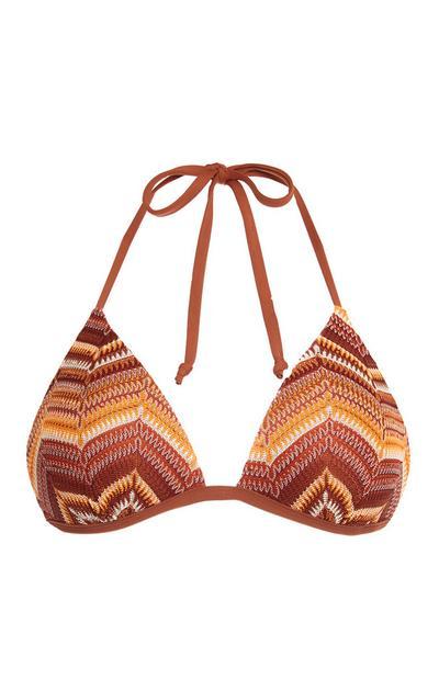 Rjavo-oranžen kvačkani bikini modrček