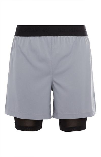 Grey and Black 2-In-1 Running Shorts