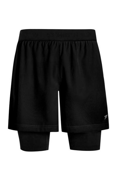 Schwarze 2-in-1-Trainingsshorts