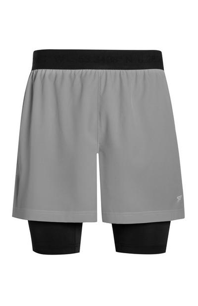 Graue 2-in-1-Trainingsshorts