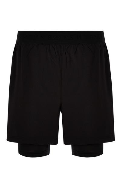 Short de running noir 2 en 1