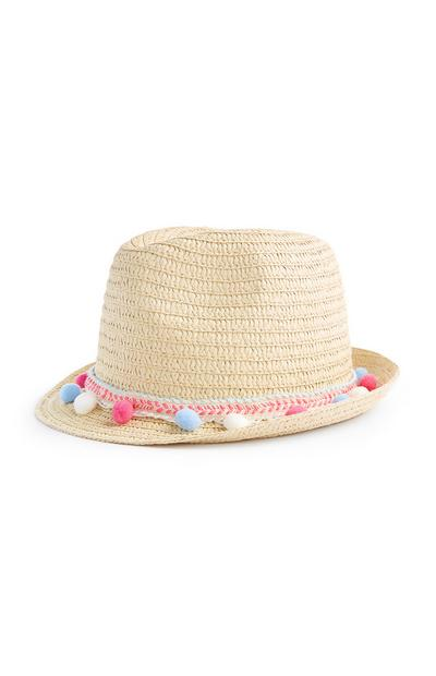 Older Girl Straw Pom Pom Trilby Hat