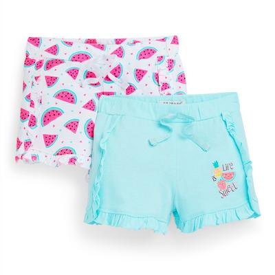 Kratke hlače z naborki s potiskom lubenice za mlajša dekleta