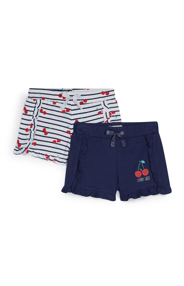 2-Pack Navy And White Cherry Print Shorts