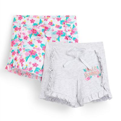Kratke hlače z naborkom s cvetličnim potiskom za mlajša dekleta