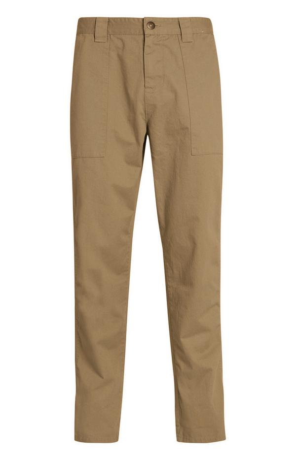 Beige Straight Leg Carpenter Trousers
