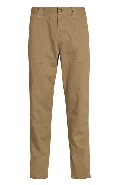 Beige Straight Leg Carpenter Pants