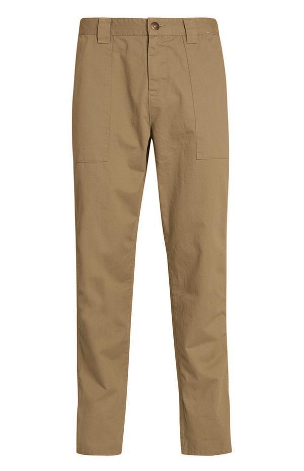 Pantaloni beige a gamba dritta stile carpentiere