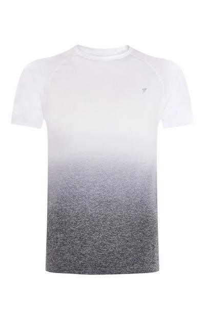Camiseta degradada sin costuras blanca y gris