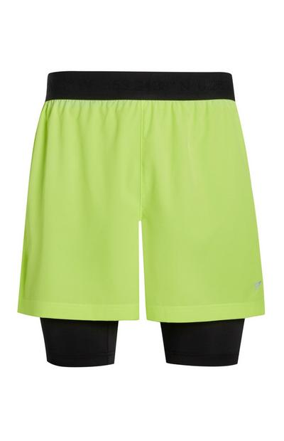 Lime Green 2 In 1 Sports Shorts