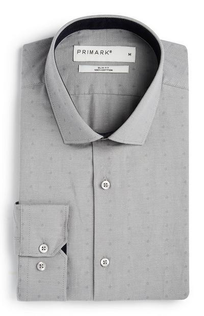 Grau gepunktetes Slim-Fit-Baumwollhemd