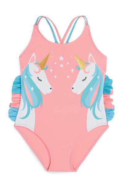 Younger Girl Peach Unicorn Print Swimsuit