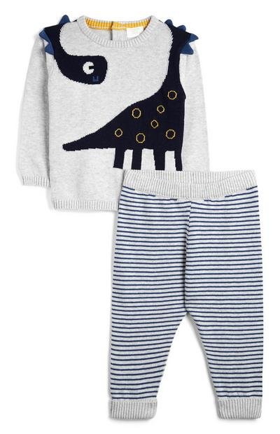 Grauer Pullover mit Dinosaurier und gestreifter Jogginghose (kleine Mädchen)