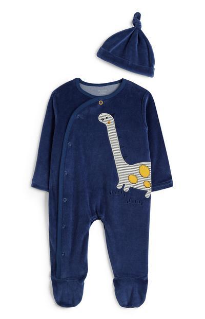 Newborn Blue Velour Dinosaur Sleepsuit And Hat