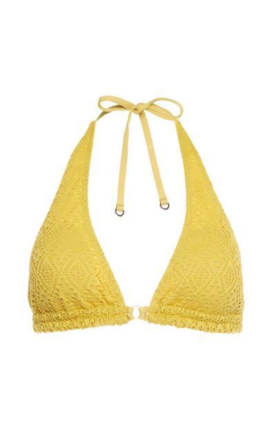Yellow Crochet Triangle Bikini Top