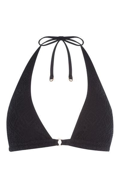 Black Crochet Triangle Bikini Top