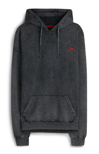 """Grauer, ausgebleichter Kapuzenpullover mit """"RED"""" Herz-Logo"""