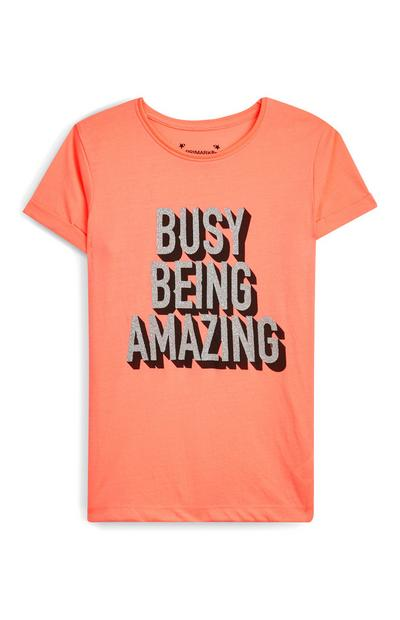 Older Girl Orange Busy Being Amazing T-Shirt