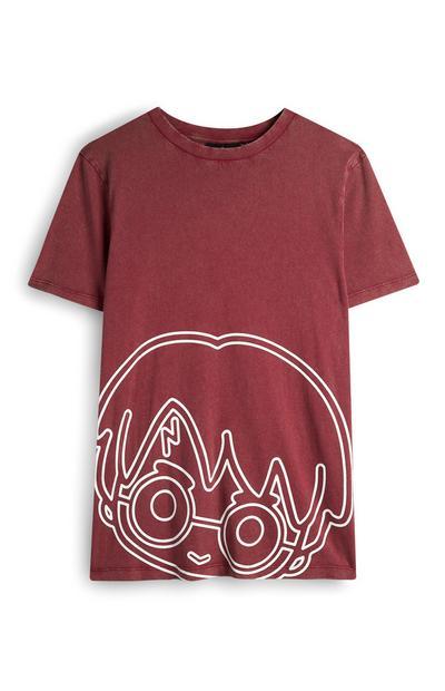 T-shirt bordeaux con silhouette Harry Potter
