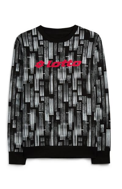 Black And White Code Print Lotto Sweatshirt