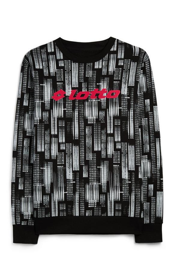 Black And White Code Print Lotto Sweatshirt