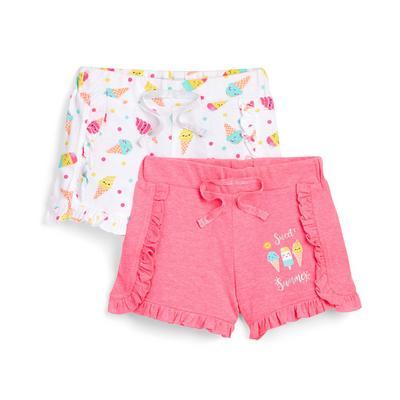 Kratke hlače z naborki in različnim sladolednim potiskom za mlajša dekleta, 2 kosa