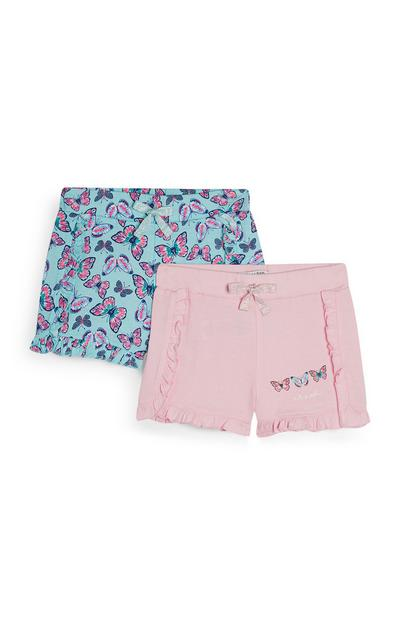 Blue And Pink Butterfly Print Shorts 2Pk