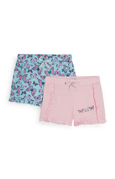 Pack 2 calções estampado borboletas azul e cor-de-rosa
