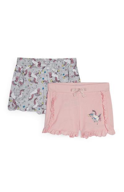 Pack 2 calções estampado unicórnios cor-de-rosa e cinzento