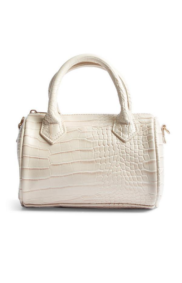 White Faux Snakeskin Bag