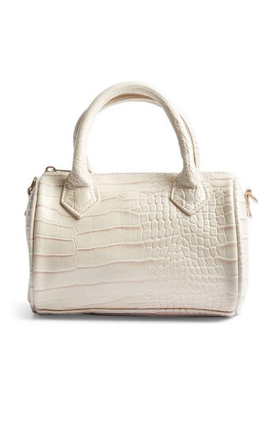 White Faux Snakeskin Bag