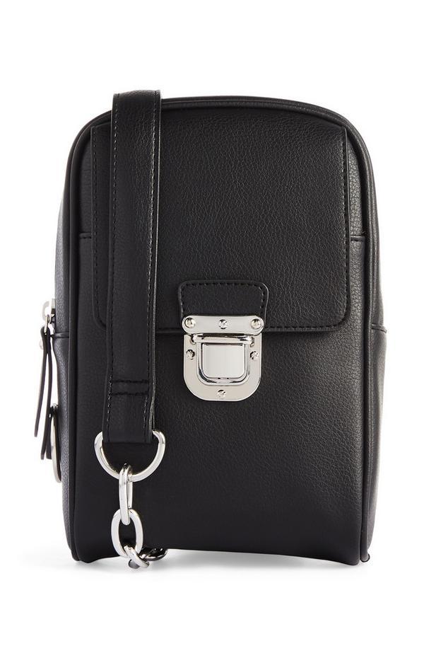 Zwarte schoudertas met ketting