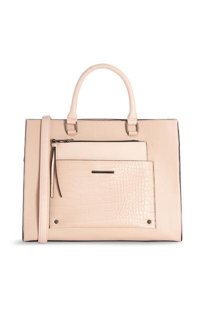 Peach Croc Detail Front Pocket Bag And Pouch