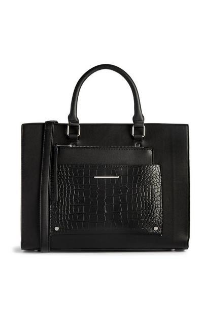 Črna torbica z detajlom s krokodiljim vzorcem in žepom