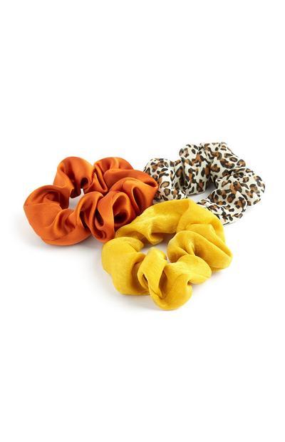 Lot de 3mini chouchous orange, jaunes et léopard