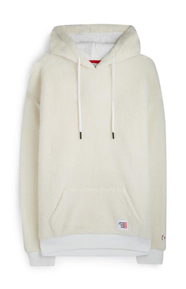 Krem pulover s kapuco iz flisa z logotipom RED