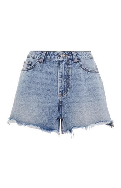 Light Blue Raw Hem Denim Shorts