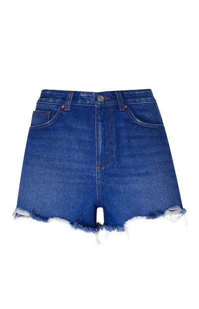 Blue High Waisted Denim Shorts