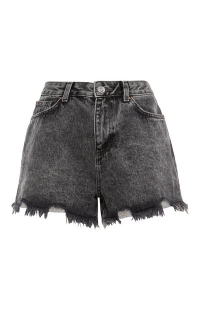Grey Raw Hem Denim Shorts