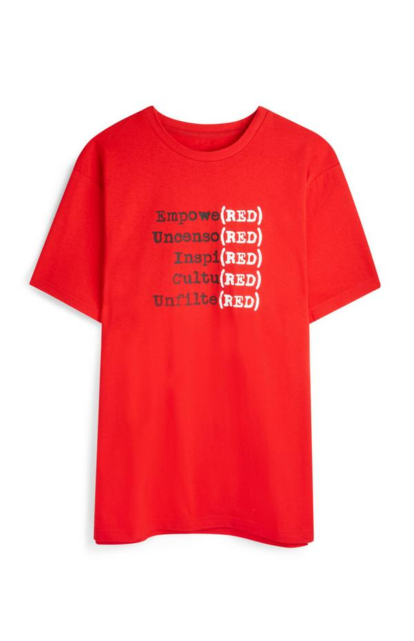 T-shirt rossa con logo RED