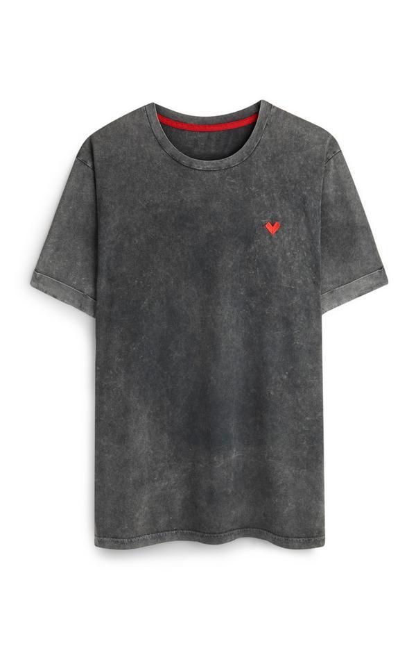 T-shirt gris à logo RED et cœur rouge
