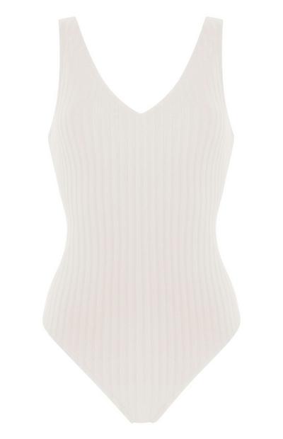 Ecru Wide Ribbed V-Neck Swimsuit