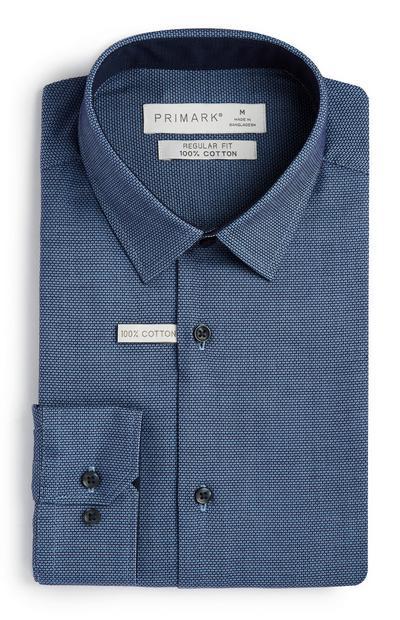 Camicia blu slim fit in cotone