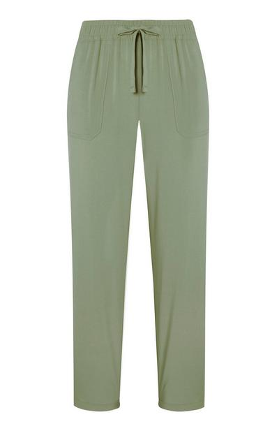 Groene viscose losse joggingbroek