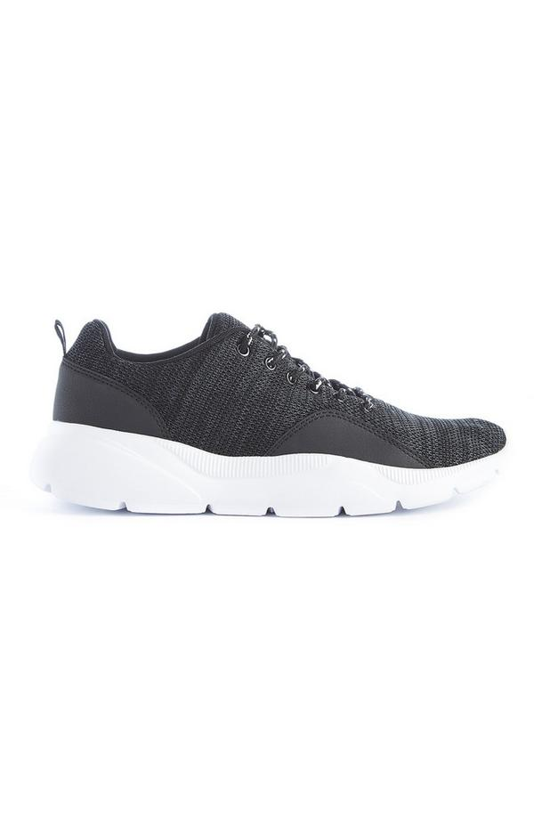 Black Knit Chunky Sneakers